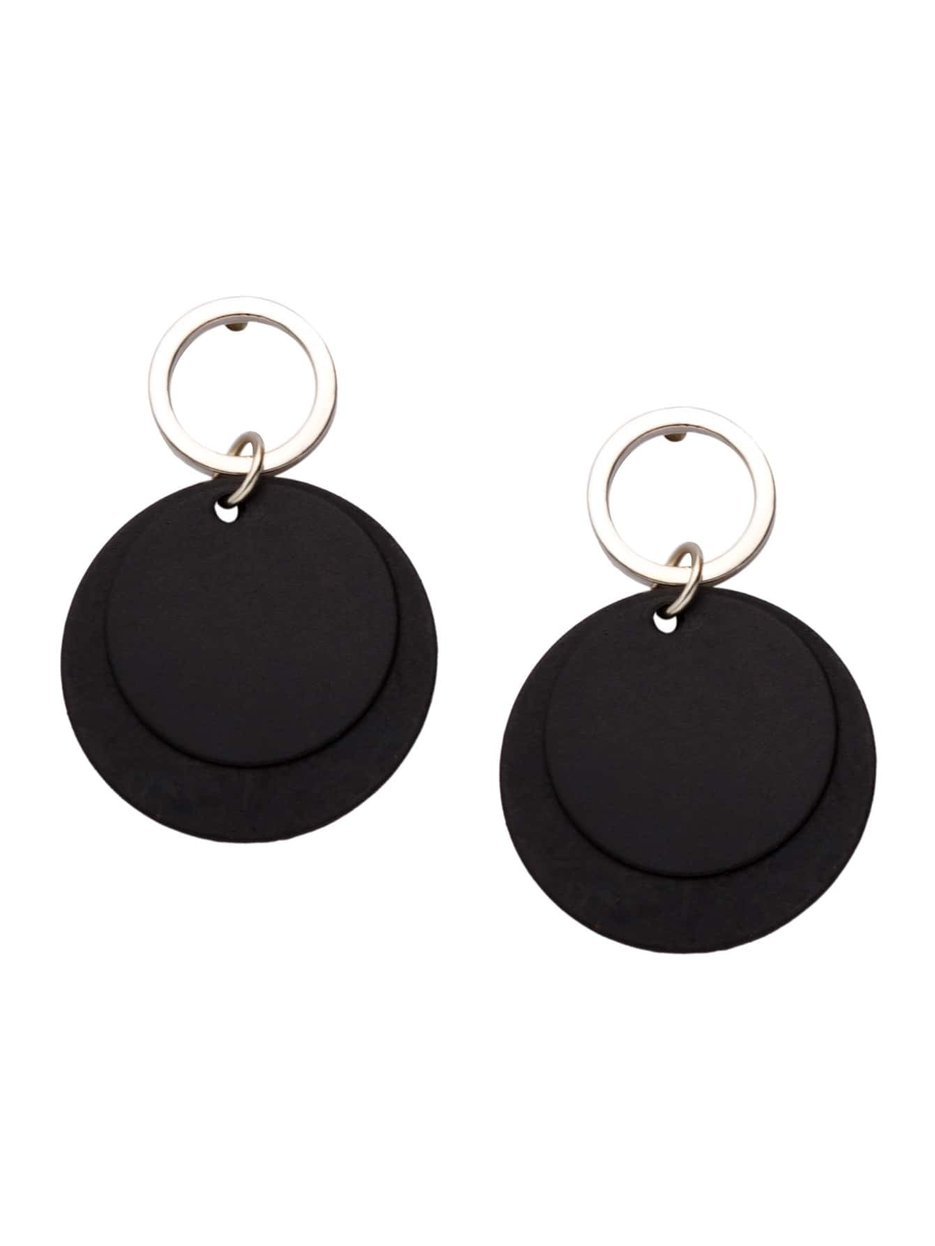 Фото Black Round Plate Drop Earrings. Купить с доставкой