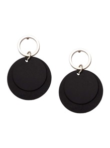 Black Round Plate Drop Earrings