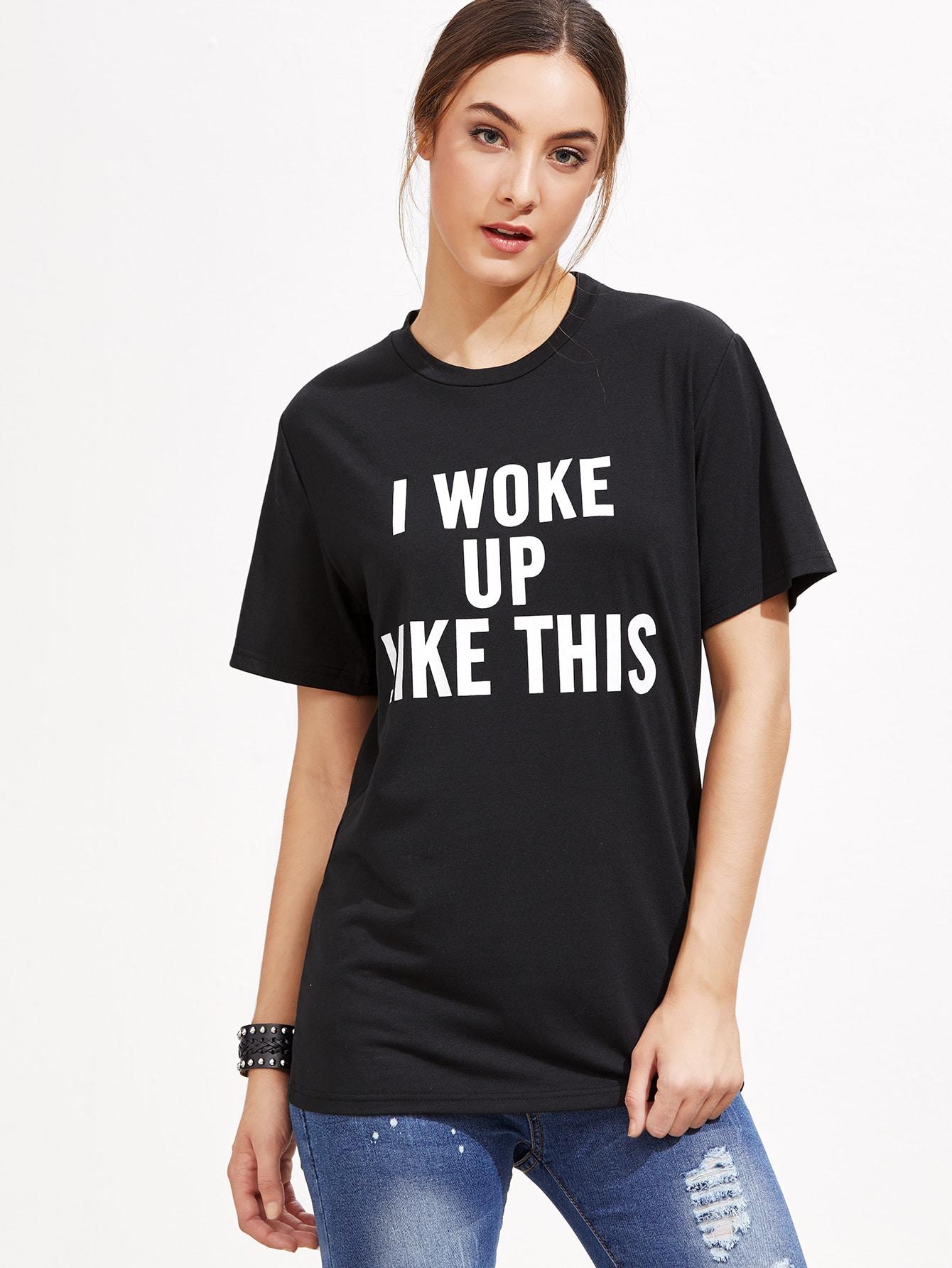 Black Slogan Print T-shirt tee161019103