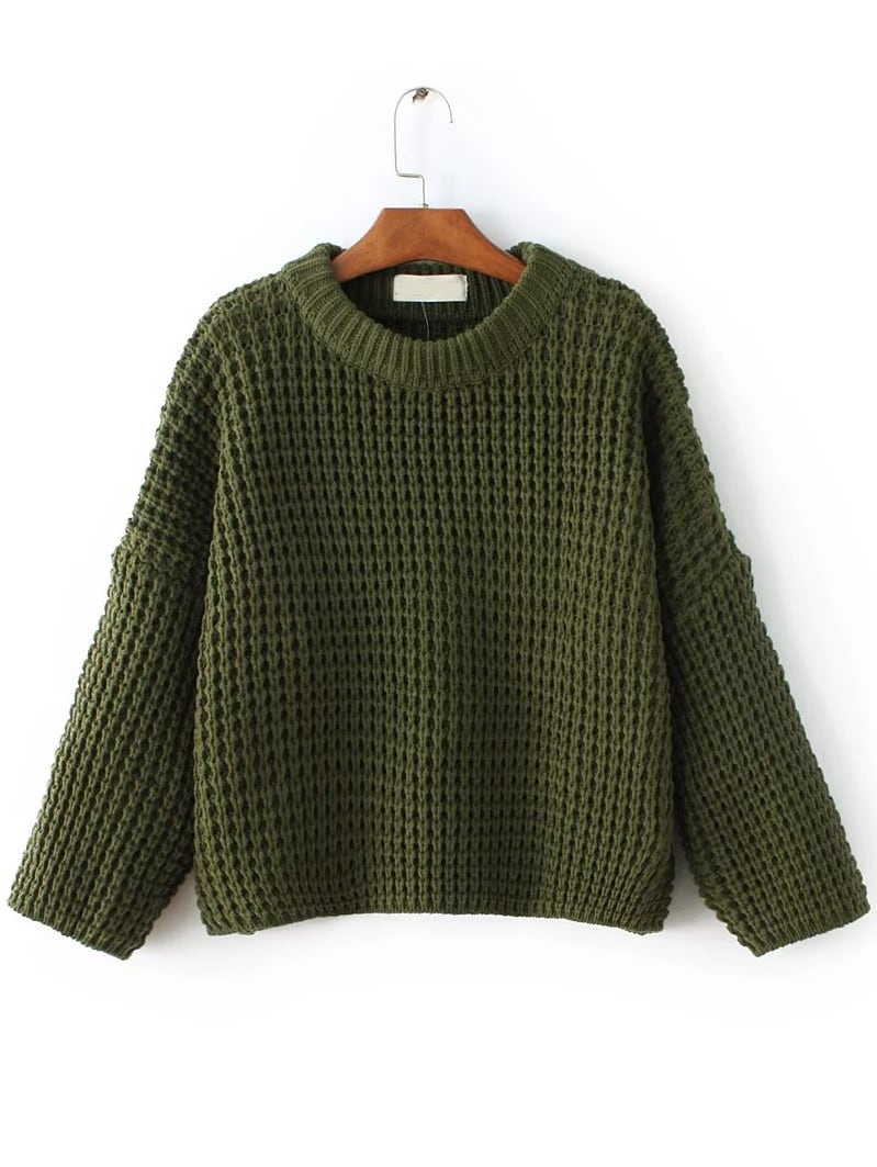 Army Green Waffle Knit Drop Shoulder Sweater sweater161020215
