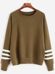 Olive Green Varsity Striped Sleeve Sweatshirt