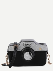 Mini Color Block Faux Leather Camera Bag With Chain
