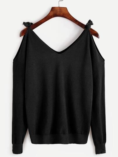 Jersey con hombros descubiertos con cordón - negro