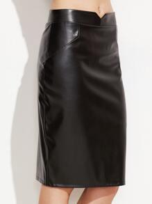 Black V Cut PU Pencil Skirt