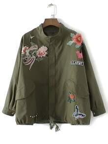 Army Green Floral Embroidery Drawstring Pocket Coat