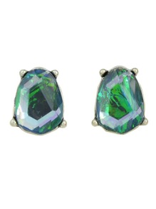 Green Rhinestone Geometric Small Stud Earrings