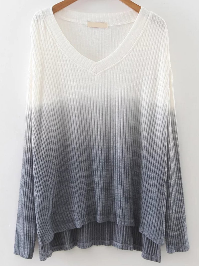 V Neck High Low Gradient Knitwear sweater161018224