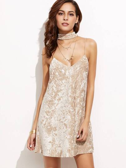 Crushed Velvet Cami Dress With Neck Tie