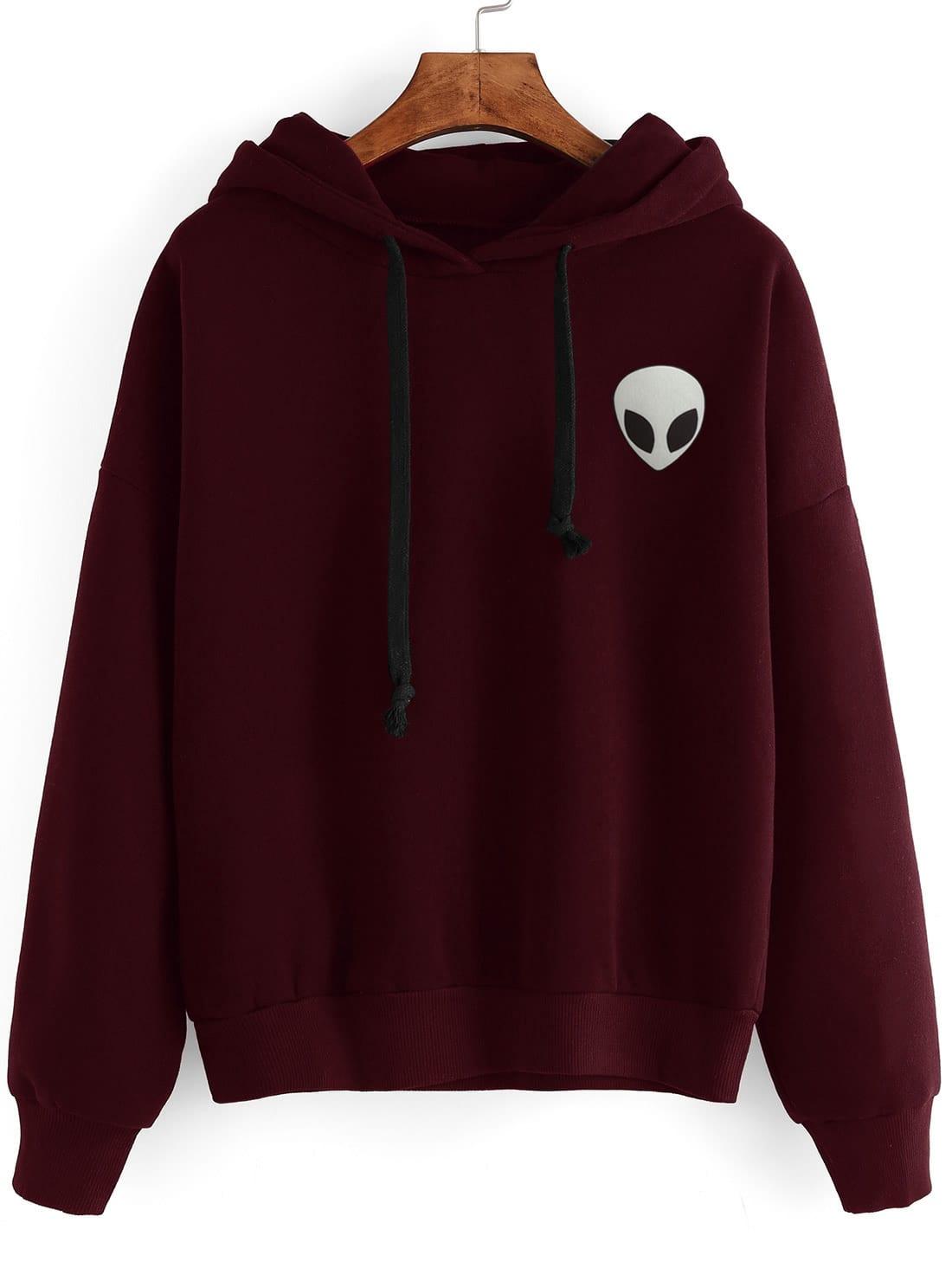 Drop Shoulder Alien Print Hoodie alien print drop shoulder hooded drawstring sweatshirt