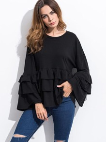 Black Ruffle Tiered T-shirt