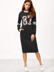 Black Varsity Print Slit Back Zipper Sweatshirt Dress
