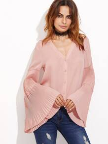 Pink Tiered Pleated Bell Sleeve Button Up Blouse