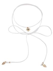 White Metal Pendant Hollow Out Wrap Choker Necklace