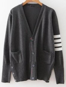 Dark Grey Striped Sleeve Button Up Cardigan