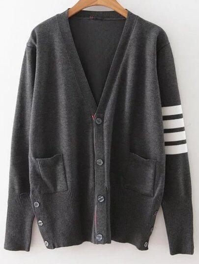 Dark Grey Striped Sleeve Button Up Cardigan -SheIn(Sheinside)