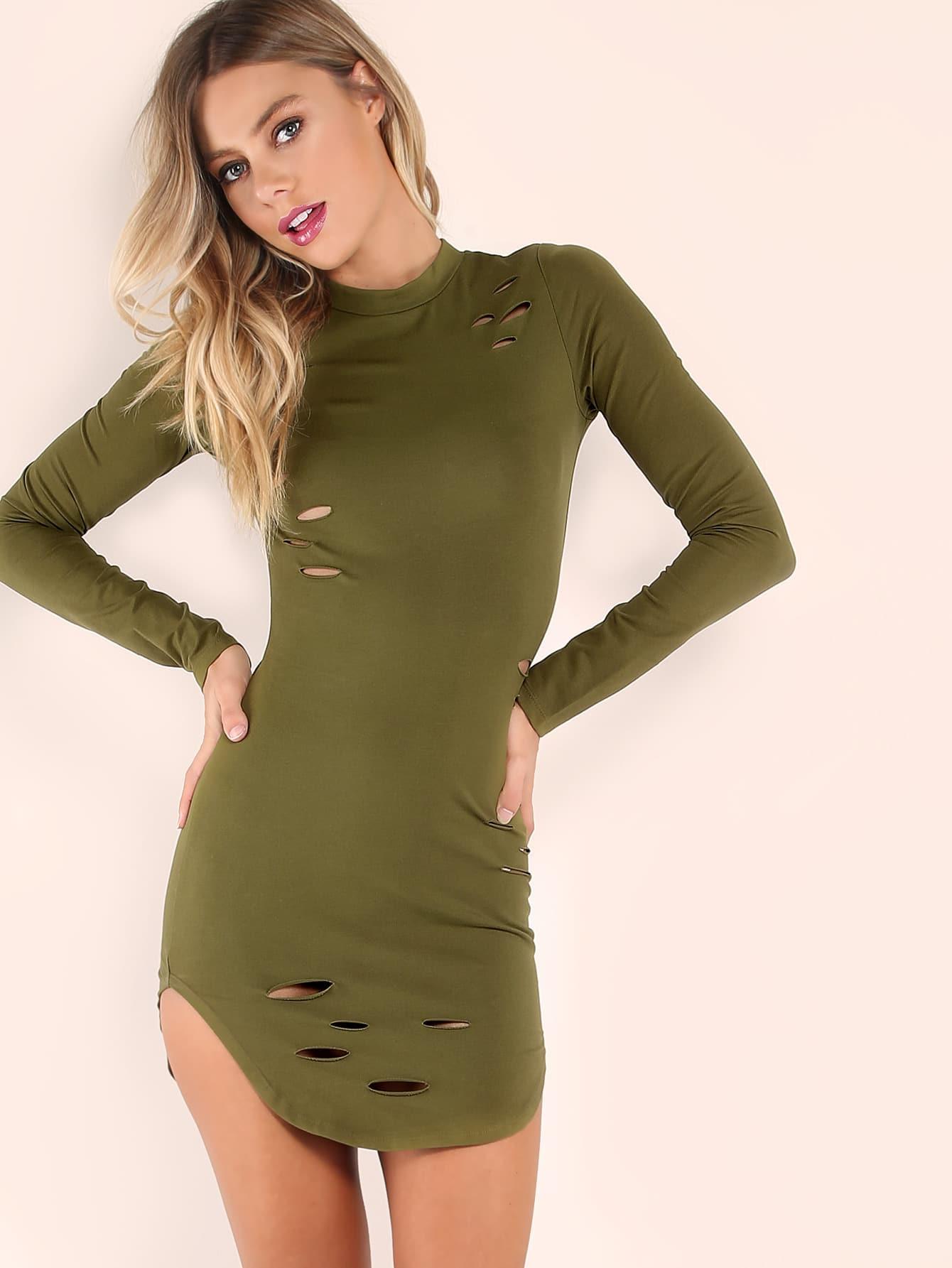 Фото Olive Green Curved Hem Ripped Bodycon Dress. Купить с доставкой