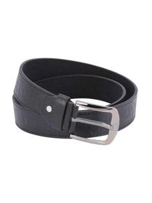 Cinturón de cuero sintético con hebilla - negro