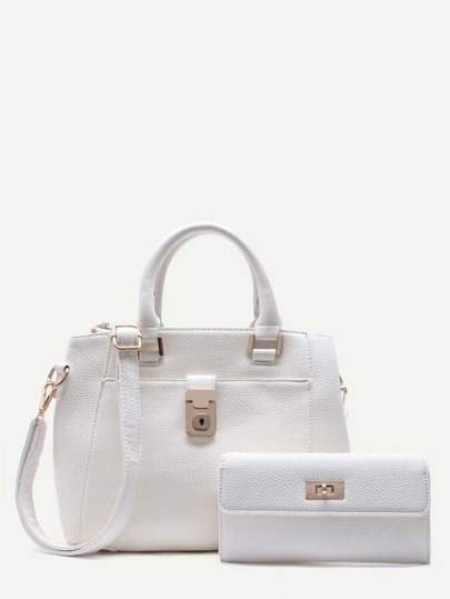 White Pebbled PU Shoulder Bag With Clutch