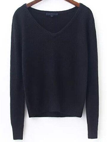 Black V Neck Ribbed Trim Knitwear sweater161031218
