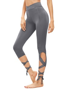 Light Grey Hollow Tie Skinny Leggings