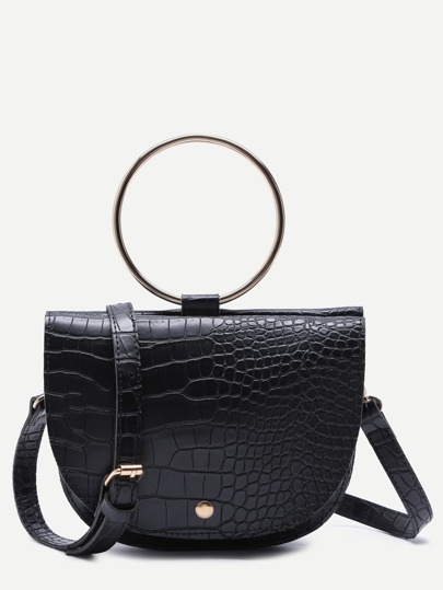Black Croc Embossed PU Matel Ring Flap Saddle Bag