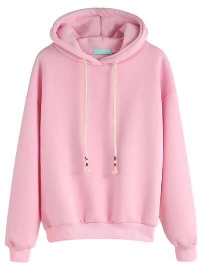 Pink Drop Shoulder Drawstring Hooded Sweatshirt