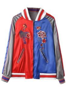 Color Block Embroidery Raglan Sleeve Reversible Jacket