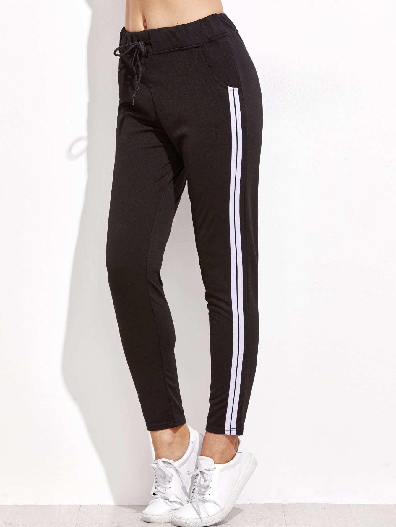 Black Striped Side Drawstring Pants lisa corti короткое платье