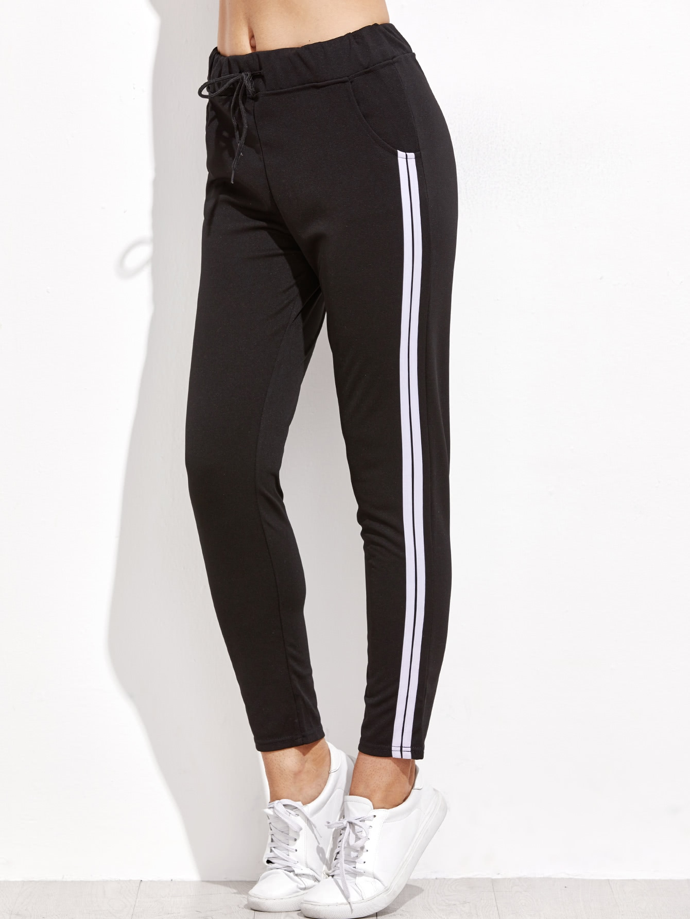 Image of Black Striped Side Drawstring Pants