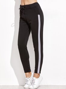 Black Striped Side Drawstring Pants