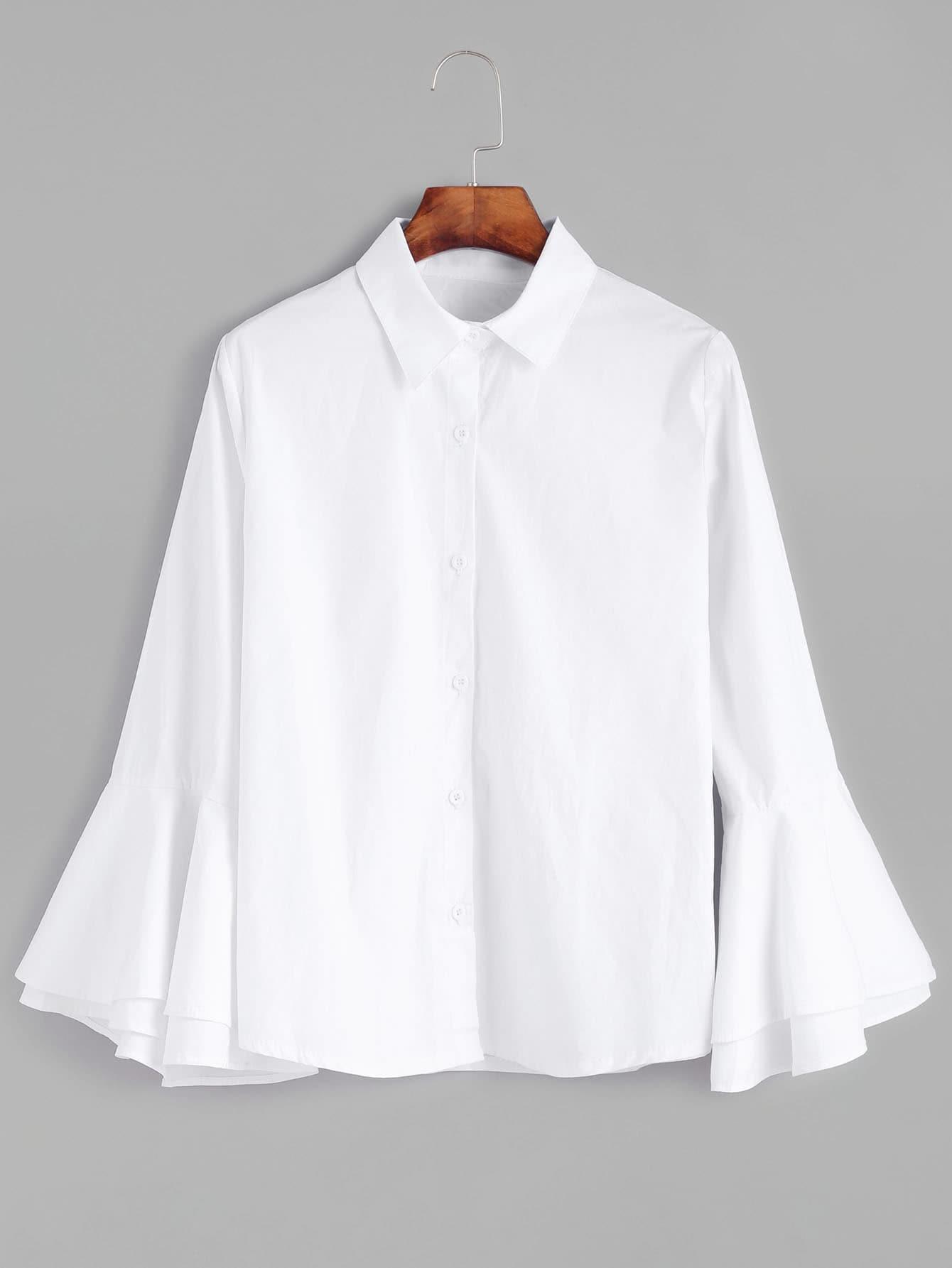 Tiered bell sleeve shirt shein sheinside for Bell bottom sleeve shirt