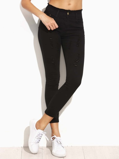 Black Ripped Frayed Waist Skinny Jeans