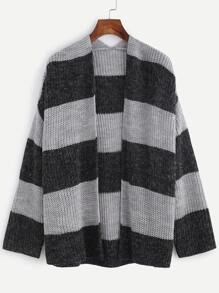 Black And Grey Wide Striped Open Front Cardigan