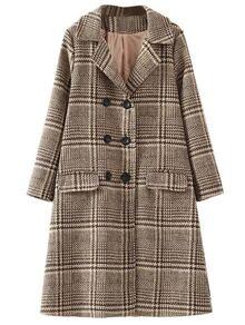 Khaki Plaid Double Breasted Coat