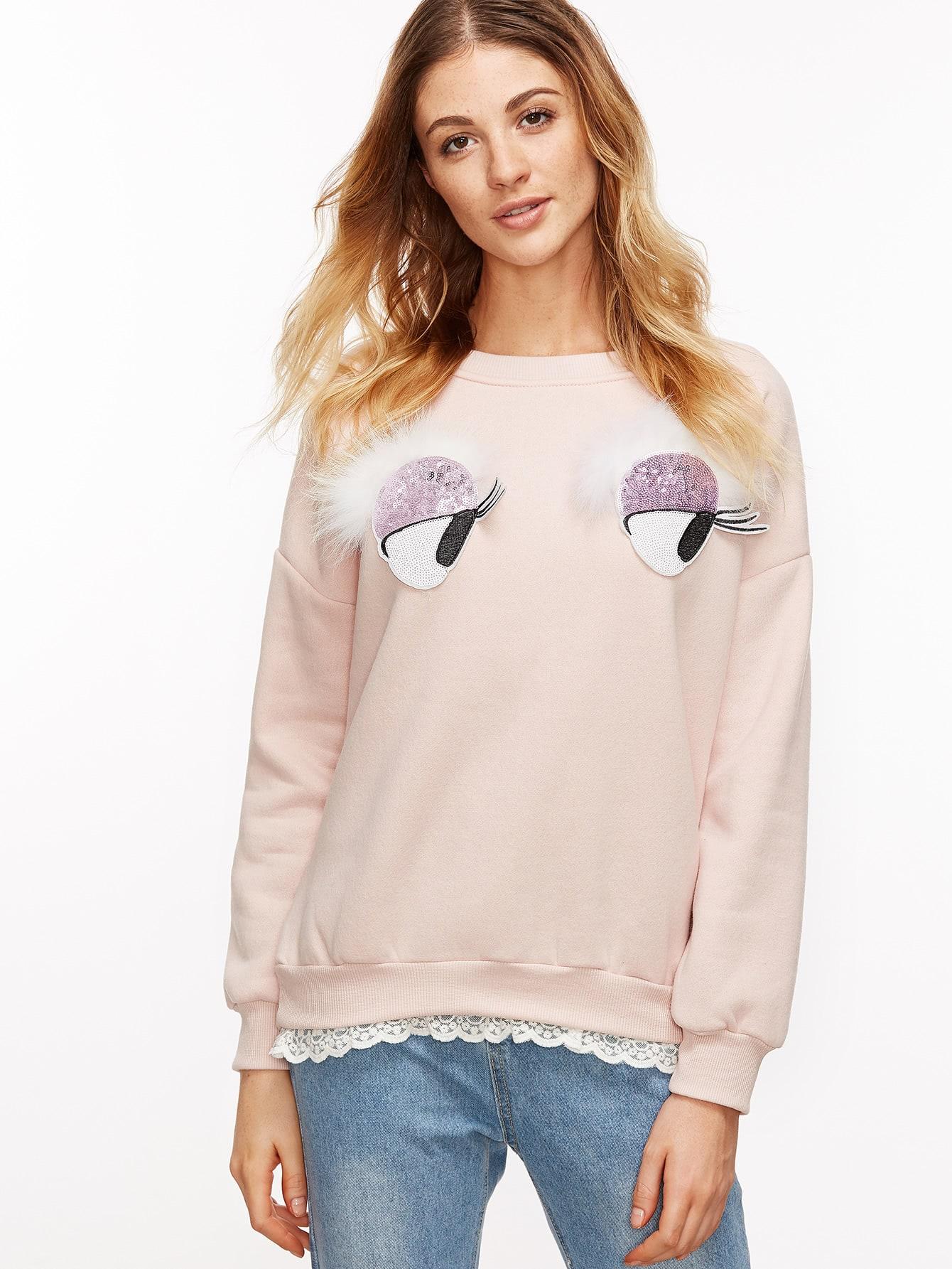 Pink Drop Shoulder Sequins Trim Contrast Lace Sweatshirt sweatshirt161031001