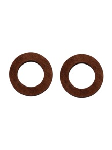 Brown Hollow Out Round Wooden Stud Earrings