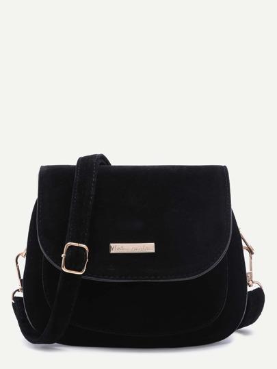 Black Faux Leather Saddle Crossbody Bag