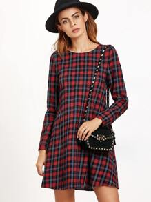 Navy And Red Plaid A Line Dress
