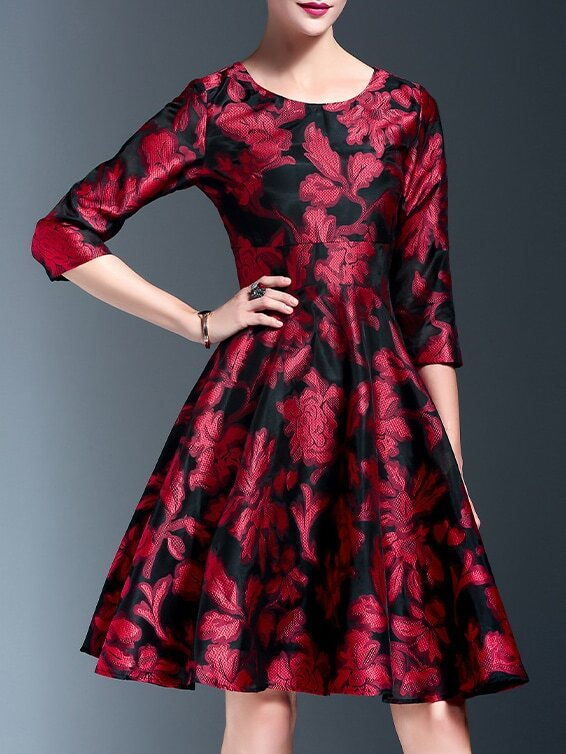 Red flowers print a line dress shein sheinside for Red line printing