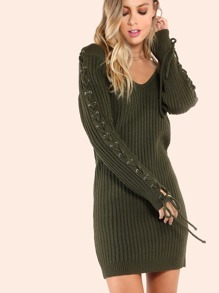 Laced Sleeve V Sweater Dress OLIVE