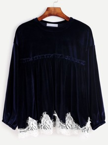 Navy Crochet Trim Velvet Blouse