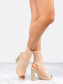 Cylinder Stacked Heel Booties NUDE