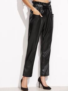 Black Self Tie Pocket Front PU Pants