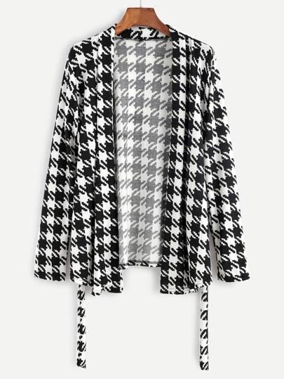 Veste pull pied-de-poule avec lacet - noir et blanc