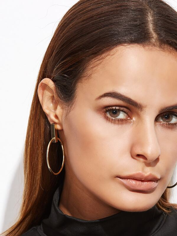 Gold Plated Hollow Circle Drop Earrings, null