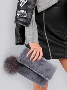 Pom Pom Fur Clutch GREY