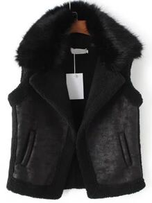 Black Lapel Vest With Detachable Faux Fur