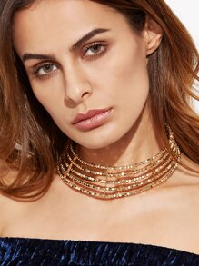 Gold Beaded Hollow Out Wide Choker Necklace