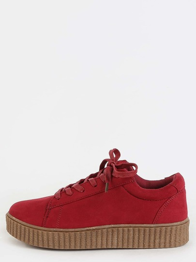 Round Toe Suede Sneakers CRIMSON