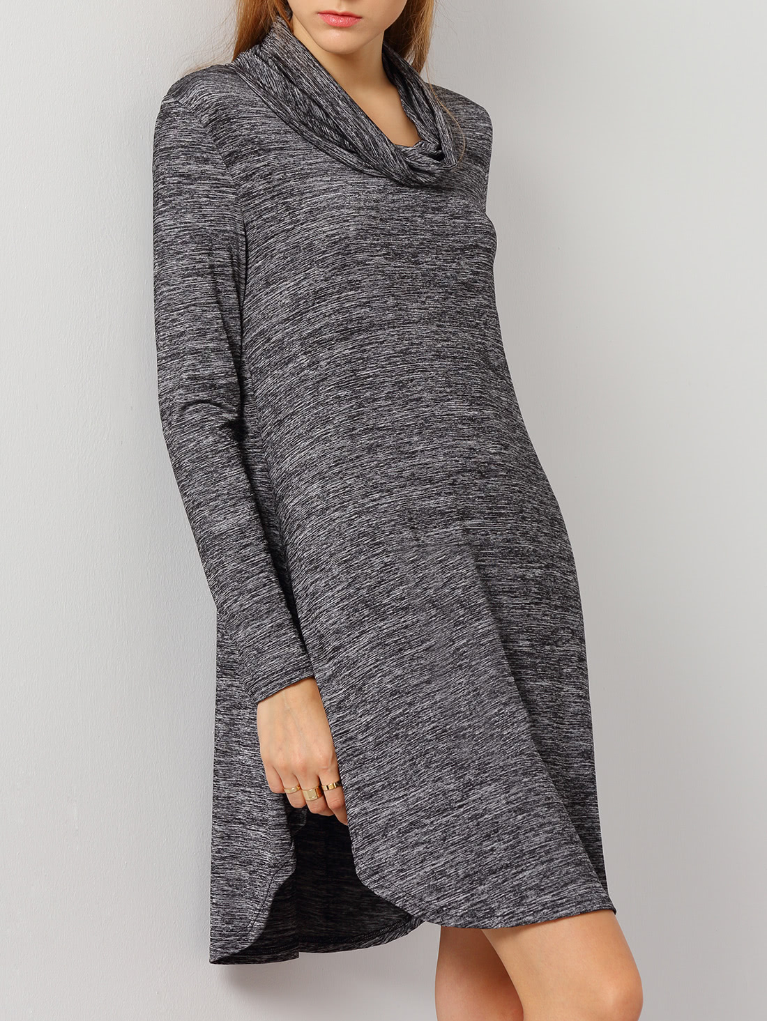 Grey Long Sleeve Turtleneck Dress dress161008591